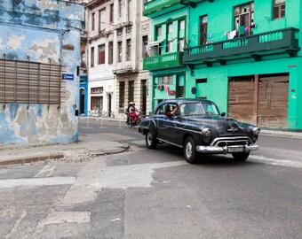 Cuba Photography, Old Black American Car, Car Photography, Havana Art, Cuban Street, Cuba Print Art, Fine Art Photography, Cuba Wall Art