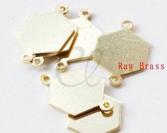 20pcs Raw Brass Hexagon Link - 16x10.5mm (1999C-P-325)