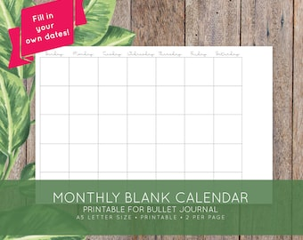 Monthly Blank Printable Calendar for Bullet Journal, Moleskine + Leuchttrum