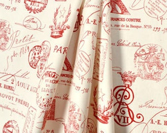 PARIS CURTAIN PANELS  Valances, Window Panels, Curtains, Sizes, Unlined in Beautiful red and natural french paris stamp fabric