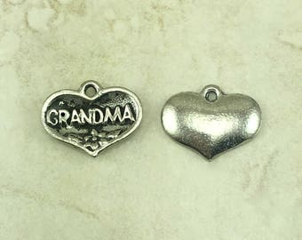 Grandma Charms > Love Ornate Maternal Grandmother Grandma Mothers Day Mom - Raw American Made Lead Free Silver Pewter I ship internationally