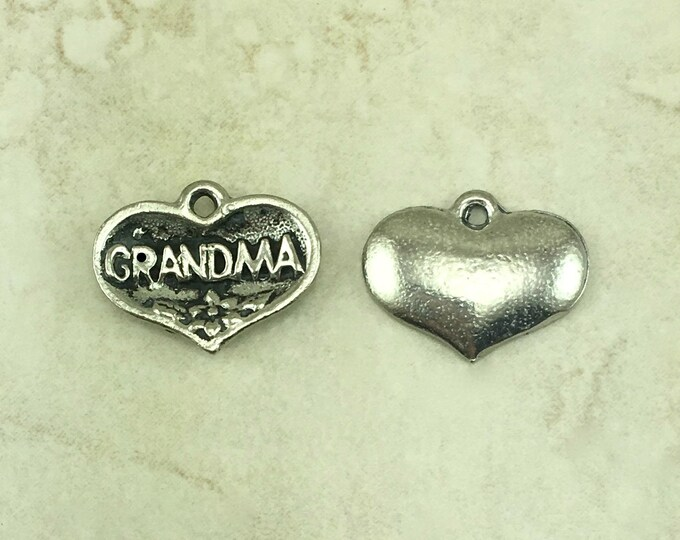 Featured listing image: Grandma Charms > Love Ornate Maternal Grandmother Grandma Mothers Day Mom - Raw American Made Lead Free Silver Pewter I ship internationally