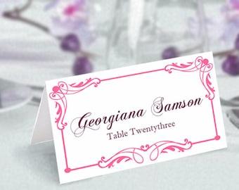 Place Cards Wedding Place Card Template DIY Editable Printable Place Cards Elegant Place Cards Pink Place Card Tented Place Card