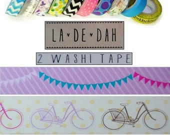 "Set of 2 rolls of washi tape 3 ""La De Dah"" decor scrapbooking (ref.110) *."