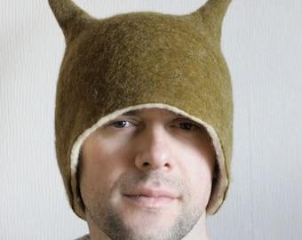 Funny Olive Alien Beetle Horns Hat /  Wool Felt Winter Hat / Hand Felted Wool Millinery / Hat Men's or Women's, Adult or Children