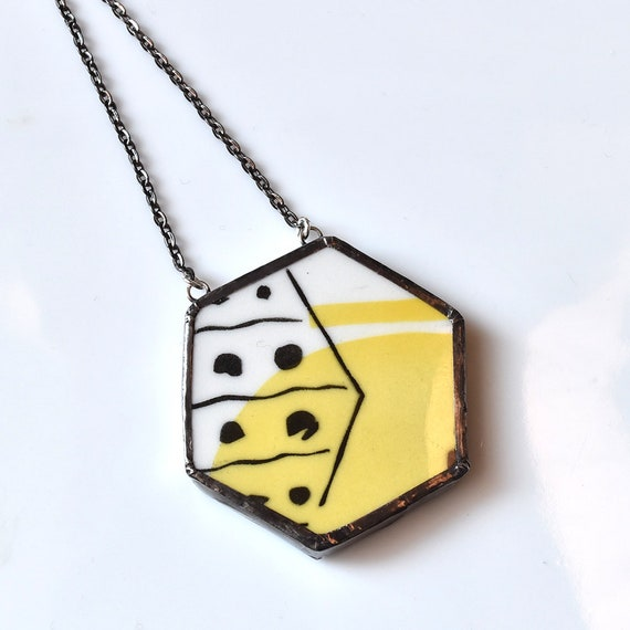 Broken China Jewelry Hexagon Necklace - Yellow Black and White
