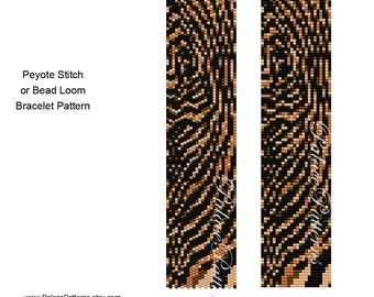 Tiger Stripes Bracelet Pattern - Peyote Stitch or Bead Loom Delica Bracelet Pattern