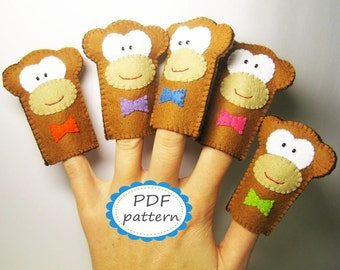 Felt monkey finger puppet PATTERN Five Little Monkeys animal pdf sewing tutorial - Handmade Soft brown Toy DIY hand stitch Instant Dawnload