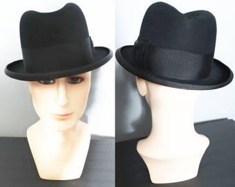 Vintage Royal Stetson Fedora Hat | Royal Stetson Hat | Fedora Hat | Gangster Hat | Black Fedora Hat |  1950s Royal Stetson Hat
