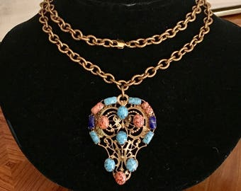 Beautiful Vintage Pendant Brooch Necklace