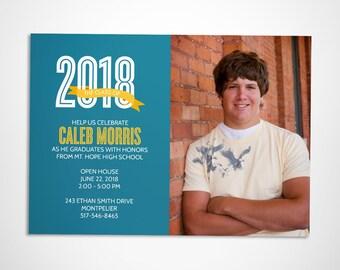 Graduation announcement and party invitation, graudation photo card, printable graduation invitation, class of 2018
