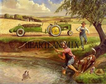 Fishing in the Farm Pond Vintage Digital Download Printable Image wall art Illustation