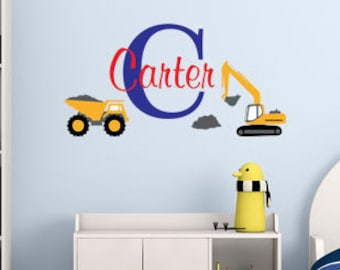 Boys Initial & name construction site and trucks-Personalized monogram vinyl wall decal-baby, dump truck, nursery, kids bedroom-0147