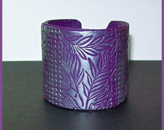 "Cuff Bracelet Polymer Clay Silver on Violet  Leaf Design 2"" Wide  Magnetic Clasp"