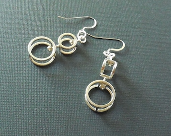 Double Double  - Sterling silver earrings made with  3D Printing Technology.