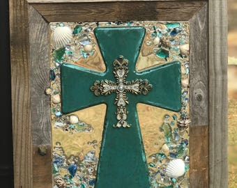 """16""""x 19""""Decorative Cross with Beach Glass in a frame"""