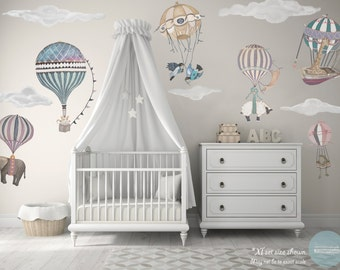 XL Girl Set, 7 Hot Air Balloon Animals & 6 Clouds, nursery, baby, hand painted look, Repositionable fabric Wall decals, kit