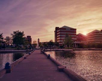 Neenah Harbor Sunset, Fox Cities, Large Wall Art Print, Neenah, Wisconsin, Home Decor, Sunset Decor, Skyline