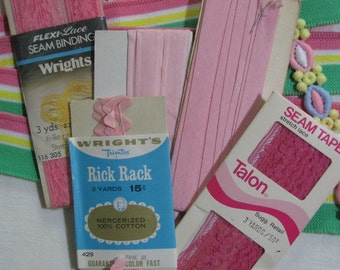 Pink vintage notions and trims