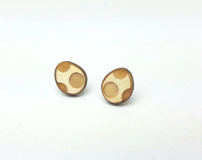 Yoshi Egg Earrings | Laser Cut Jewelry | Hypoallergenic Studs | Wood Earrings