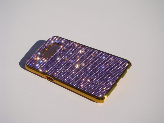 Galaxy 6S Purple Amethyst Rhinestone Crystals on Gold-Bronze Chrome Case. Velvet/Silk Pouch Bag Included, Genuine Rangsee Crystal Cases.