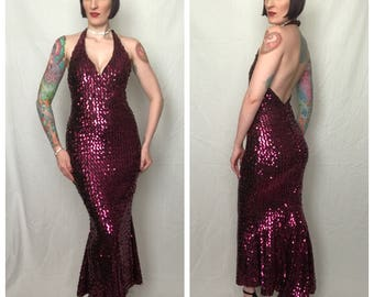 Vintage 1970's Fuchsia Sequined Lurex Extreme Hourglass Mermaid Hem Disco Diva Evening Gown by Frederick's of Hollywood - size Medium Large