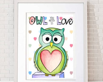 Owl You Need is Love with heart background. Owl You Need is Love print. Inspirational art. Love owl. Kids decor. Nursery decor. Owl gift.