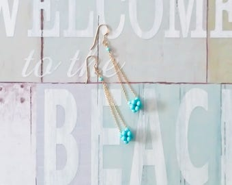 Turquoise and 14k gold fill chain earrings