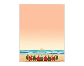 Christmas Stationery - Beach Holiday Letterhead -8.5 x 11 inches - 60 Paper Sheets - 6505
