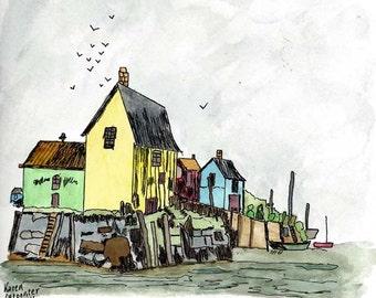 Original Pen and Ink Drawing with Watercolor Wash - Fishing Harbor and Sea Coast