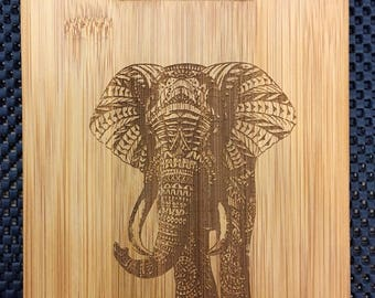 Elephant Laser Engraved Bamboo Cutting Board