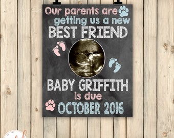 Dog New Best Friend Pregnancy Announcement Sign, New Baby On Way Reveal, Cat, Ultrasound Pets Pregnancy Announcement, Baby BFF, DIGITAL