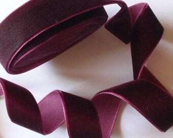 5 yards 3/4 inches Velvet Ribbon in Raisih  RY34-230