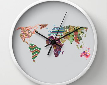 World Map Clock,  Travel Clock Decor, Cute Wall Clock, World Map Decor Clock, Wall Clock World Map, Colorful Clock