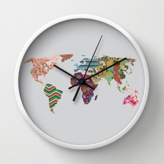 World map clock travel clock decor cute wall clock world description world map clock gumiabroncs Choice Image
