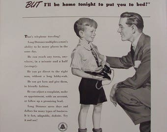 Bell Telephone boy & dad Black Rotary Dial Phone 1940 Print Ad