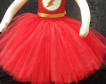 Flash tutu dress, Flash costume, superhero tutu dress, superhero Halloween costume, flash Halloween costume