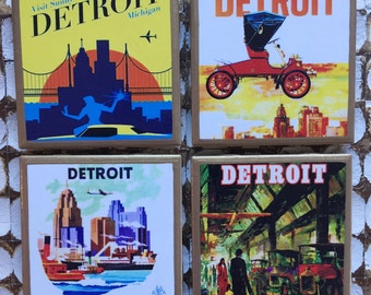 COASTERS! Vintage Detroit travel posters with gold trim