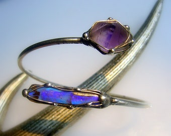 Fascinating bracelet with opal and amethyst-Unique!