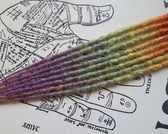 8 Single Ended Synthetic Dreadlock Hair Extensions Accent kit. Soft rainbow elven mermaid fairy