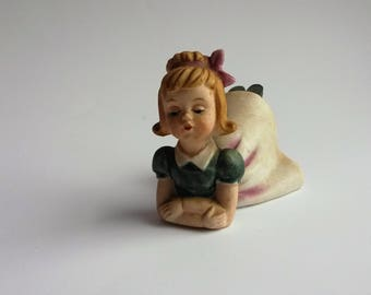 Vintage girl figurine laying on her stomach, ceramic girl figurine - B3