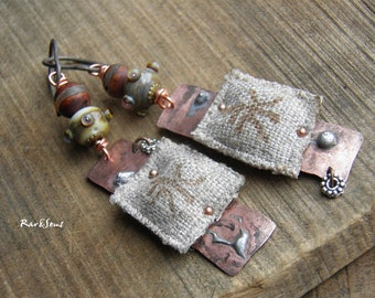Rustic earrings-tribal earrings-handcrafted lampwork-copper and flax-Asian style-Chinese character-agate-organic mood-rustic vibe