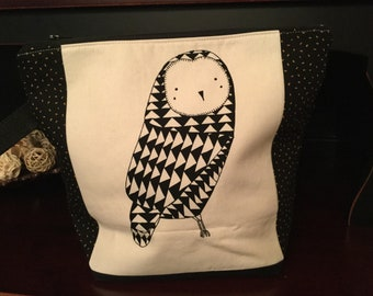 Enchanting Woodland owl, Larger Zippered Knitting Project Bag, owl print on both sides