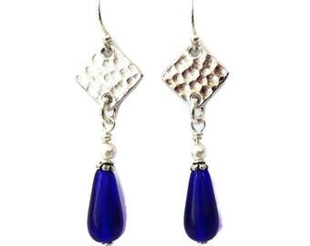 Cobalt Blue Teardrop Earrings, Silver Earrings Birthday Gift for Her, Beaded Drop Earrings Gift for Mom Dangle Earrings Handmade Sister Gift
