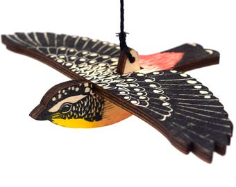 Spotted Pardalote Mobile, Hand Printed Wooden Lino Printed Hanging Bird, Australian Native Bird,
