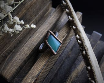 Green Onyx Copper Electroformed Ring