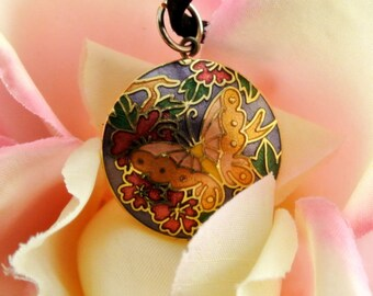 Butterfly Cloisonne Pendant Necklace 18 Inch Black Leather Cord Two Sided Cloisonne Pendant Gold Orange Cloisonne