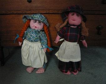 "Vintage Appalacian Mountain FOLK ART  18 1/2""  Dolls Circa 1960s"