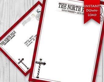 ON SALE! North Pole Stationary Set   Holiday Elf Letter   Santa Stationary   Letter from Santa - Editable {instant download}