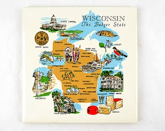 Vintage Wisconsin Tile Trivet Madison Milwaukee The Dells